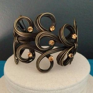 Jewelry - Multi-tonal wire cuff with rhinestones